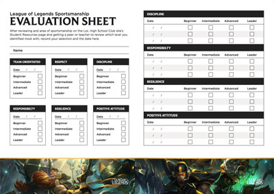 STUDENT SELF-EVALUATION SHEETS